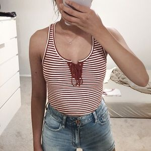 Stripes Lace Up Front Crop Top